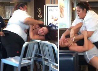 Por un refresco, empleada y cliente de McDonald's libran brutal batalla