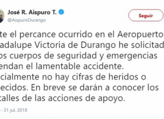 Oficialmente no hay cifras de heridos o fallecidos: Gobernador de Durango