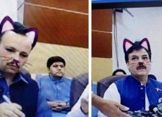 Ministro transmite por Facebook Live sin desactivar el filtro de gato