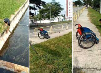 Atleta paralímpico deja su silla de ruedas para rescatar gatito