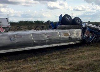 Volcadura deja un lesionado en carretera Reynosa a Monterrey