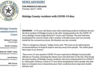 Confirman primera muerte por Covid-19 en Condado de Hidalgo