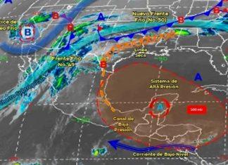 Frente frío 49 se debilitará sobre el norte de México