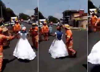 Trabajadores de limpia hallan vestido en la basura y simulan baile de XV años