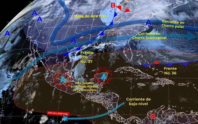 Frente frío No.37 se desplazará en gran parte de México