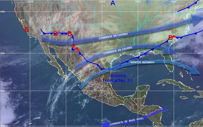El Frente Frío Número 37 se extenderá por el norte de México