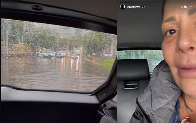 Alejandra Guzmán atrapada por las lluvias
