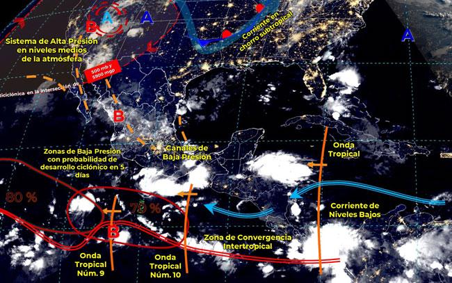 Chubascos y lluvias en gran parte del territorio mexicano
