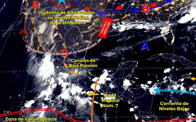 Onda tropical 7 mantendrá probabilidad de lluvias en el país