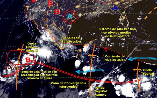 Posible ciclón tropical en desarrollo frente a costas de Jalisco