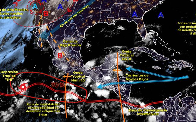 Se prevén tormentas por el paso de dos ondas tropicales