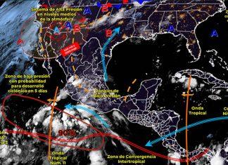 Se pronostican lluvias puntuales fuertes en el país