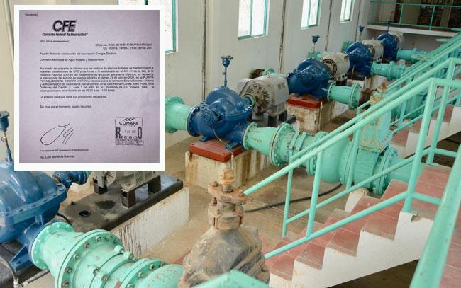 Sin agua Ciudad Victoria por corte de la CFE