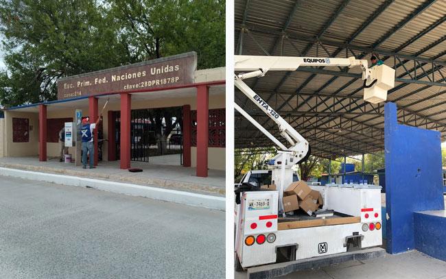 Apoya Ayuntamiento de Reynosa en mantenimiento de escuelas