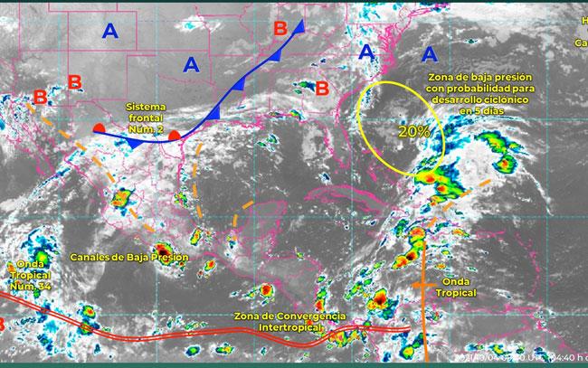 Sistema frontal 2 se extenderá sobre el noreste del país