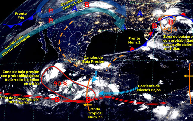 Zona de baja presión con alto potencial ciclónico frente a costas de Guerrero